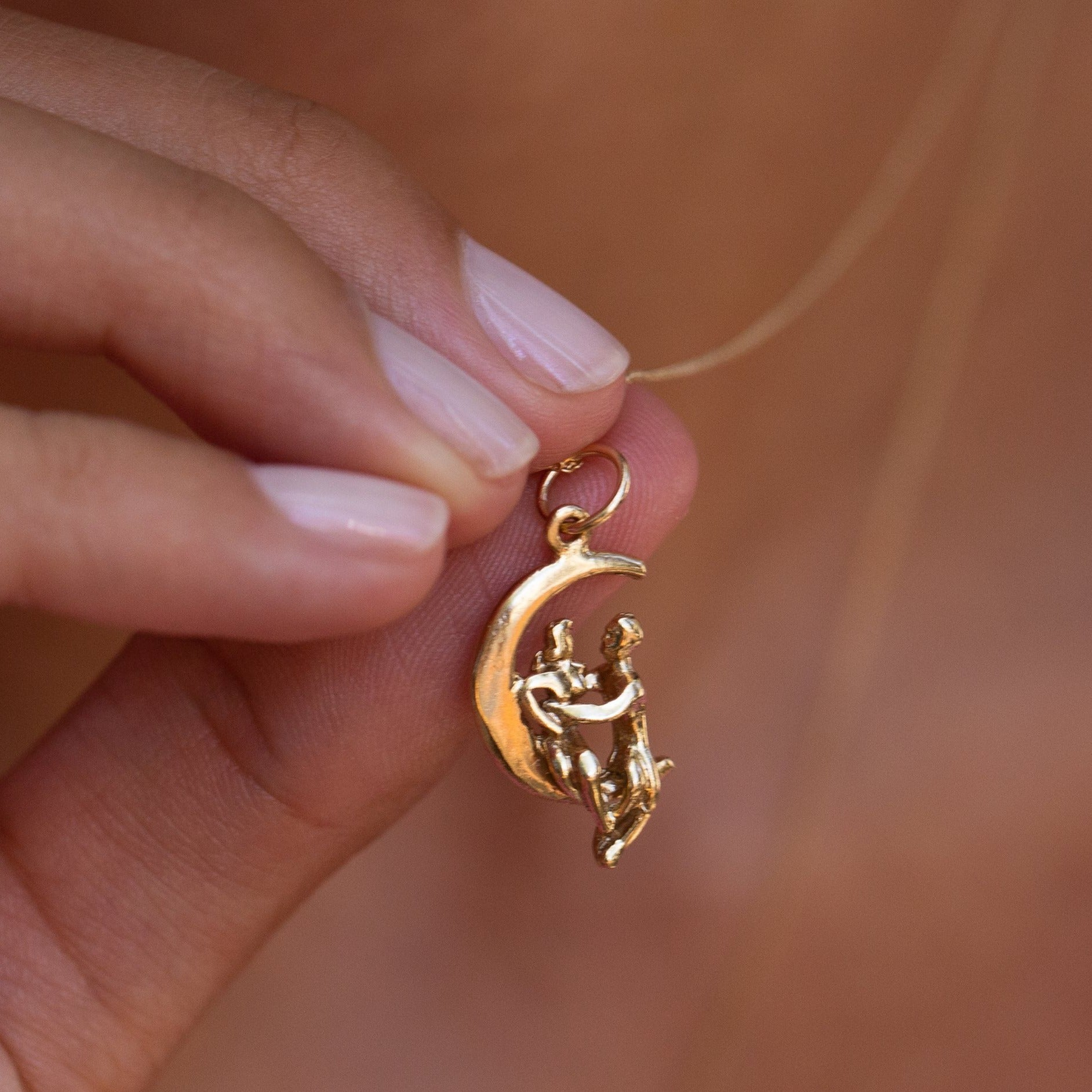 Lover's on a Crescent Moon 10k Gold Charm