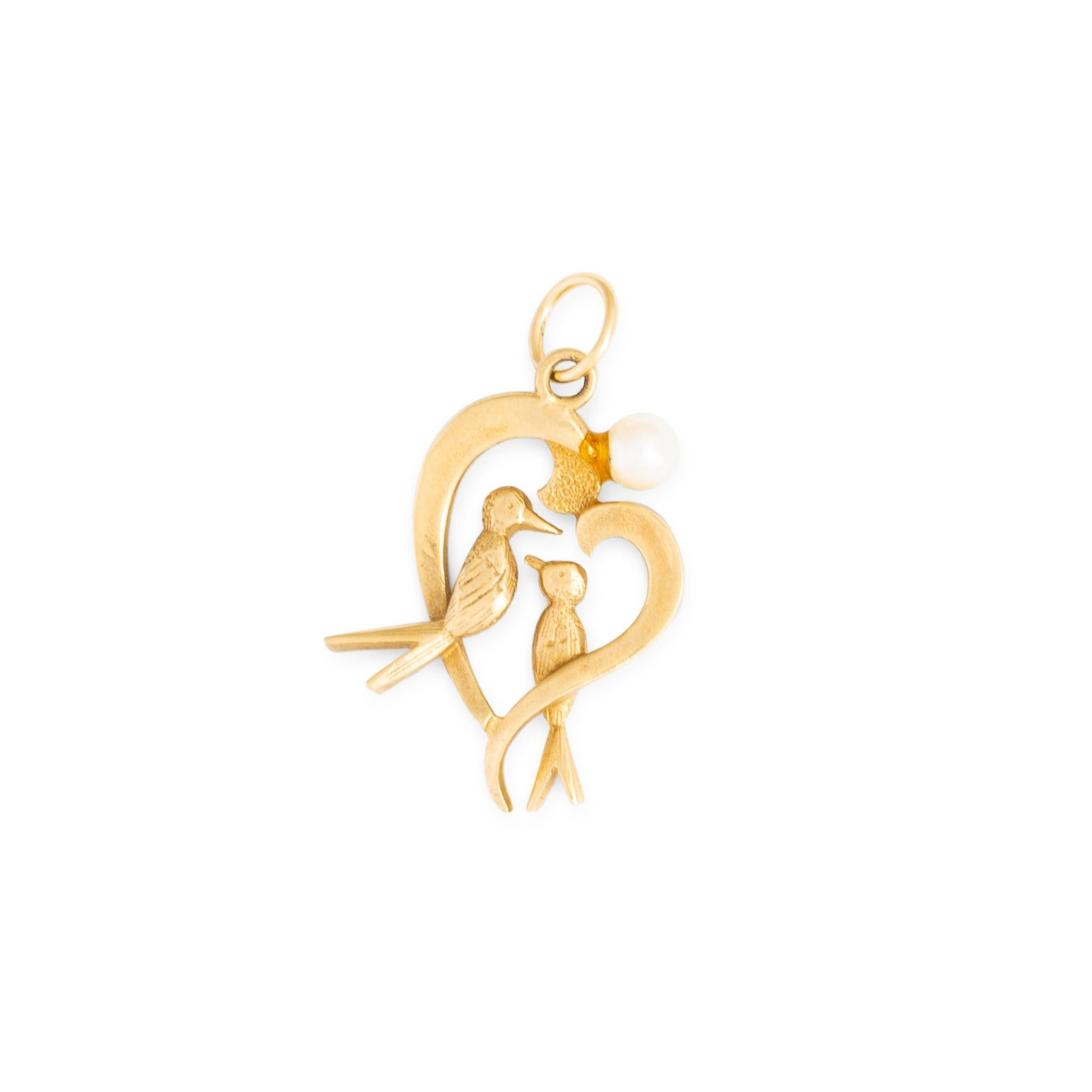 Love Birds 12k Gold and Pearl Heart Charm