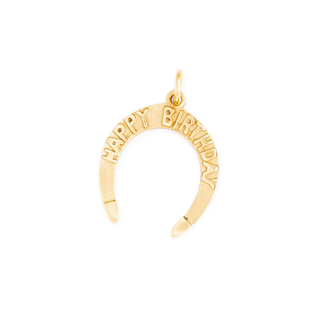 """Happy Birthday"" 10k Gold Horseshoe Charm"