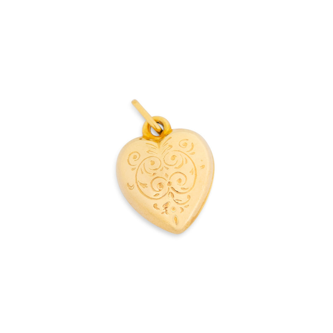 Italian 9k Gold Engraved Heart Charm