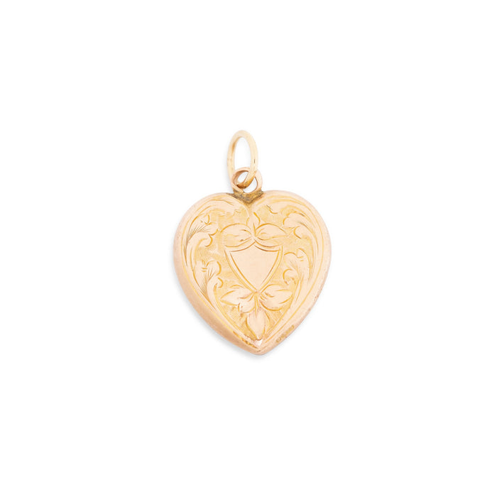 English Engraved Shield Heart 9k Rose Gold Charm