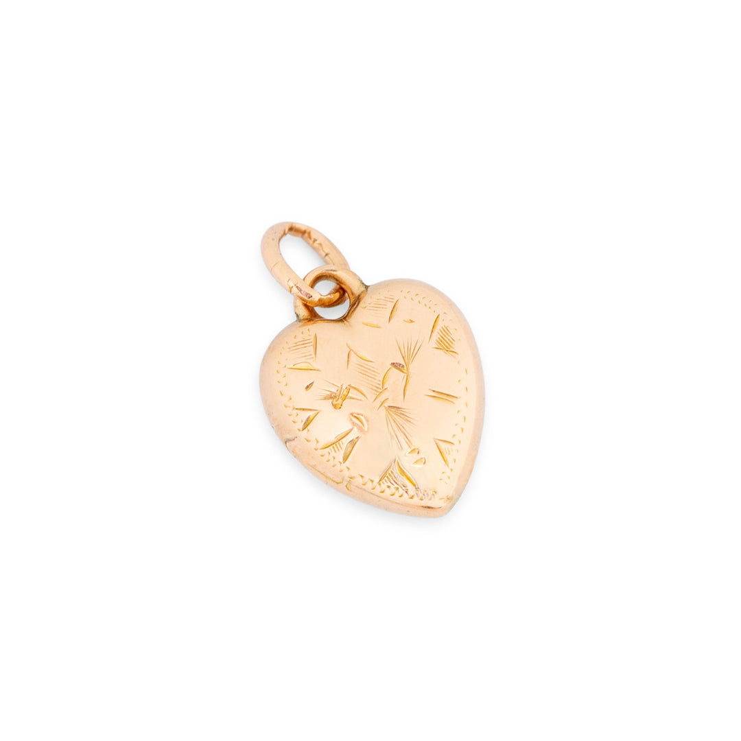 English 9k Rose Gold Engraved Heart Charm