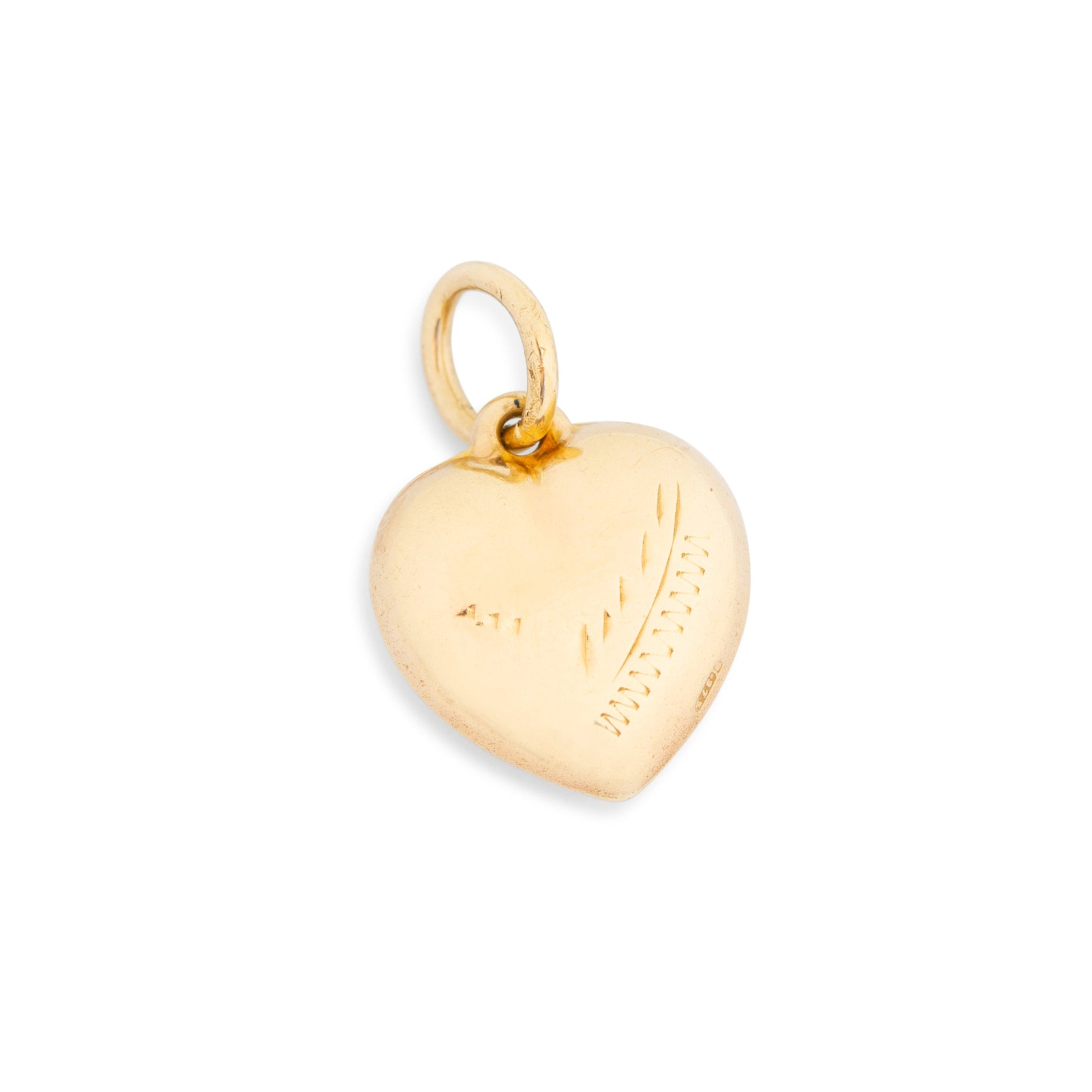 English 9K Engraved Heart Charm