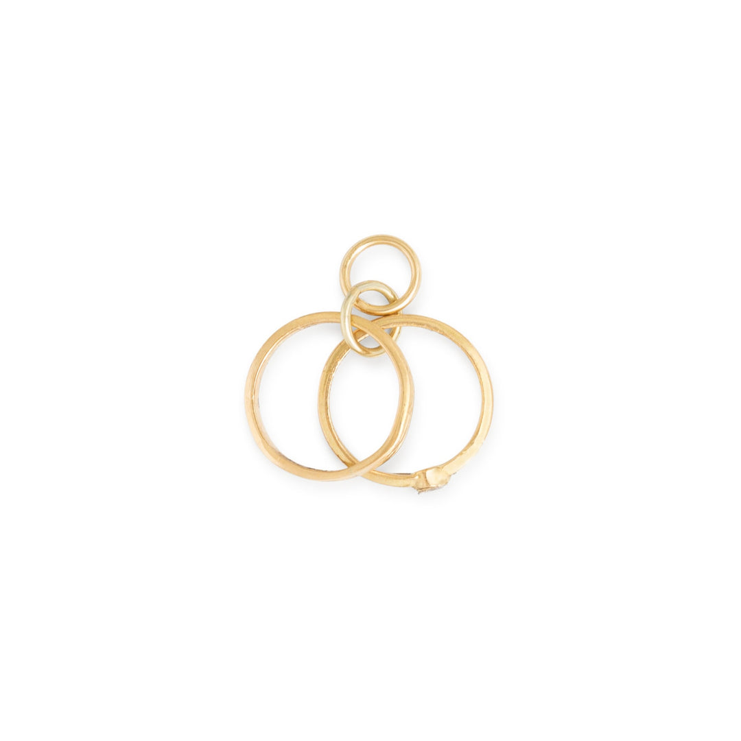 Wedding Ring Set Diamond and 14k Gold Charm