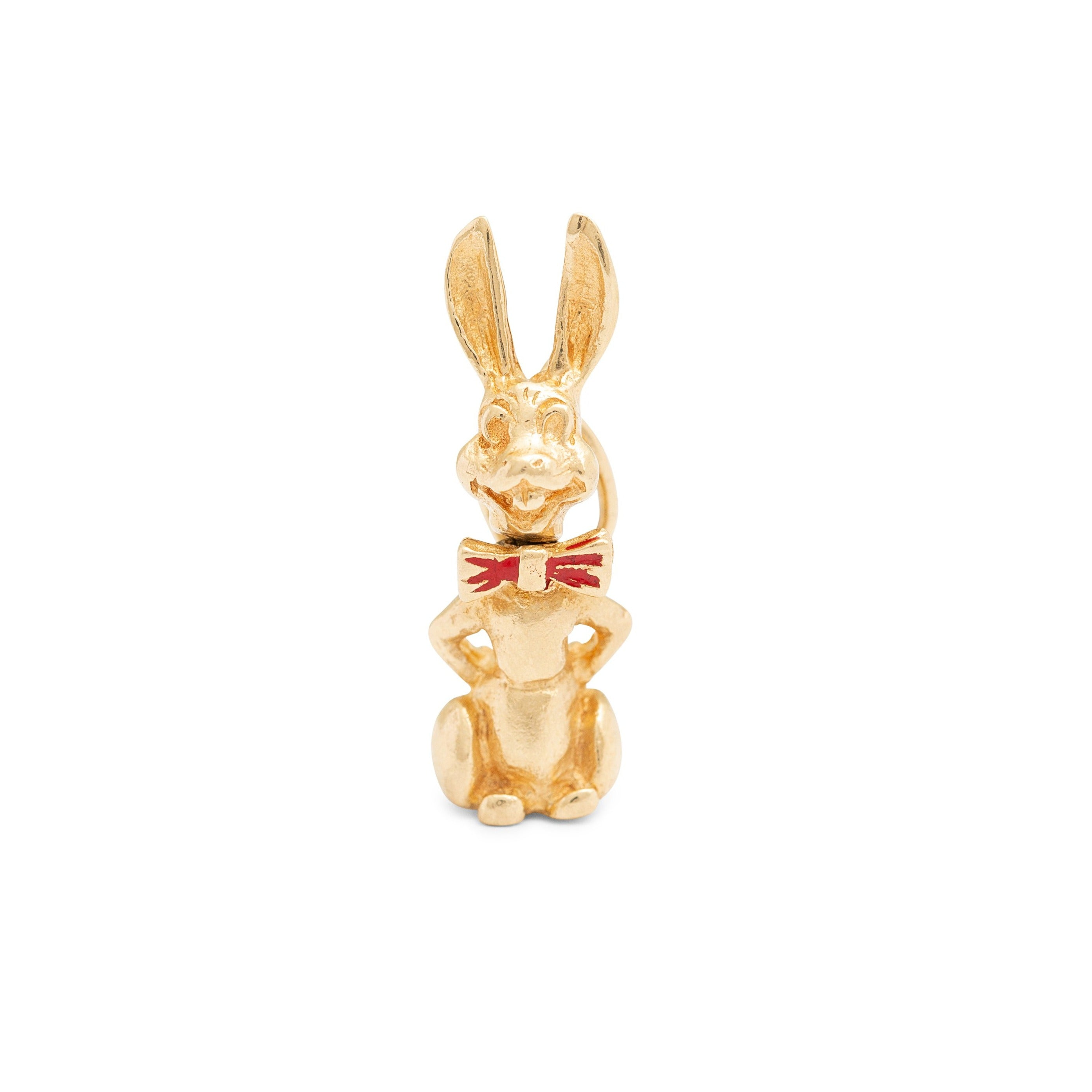 Movable Bunny 14k Gold and Enamel Charm