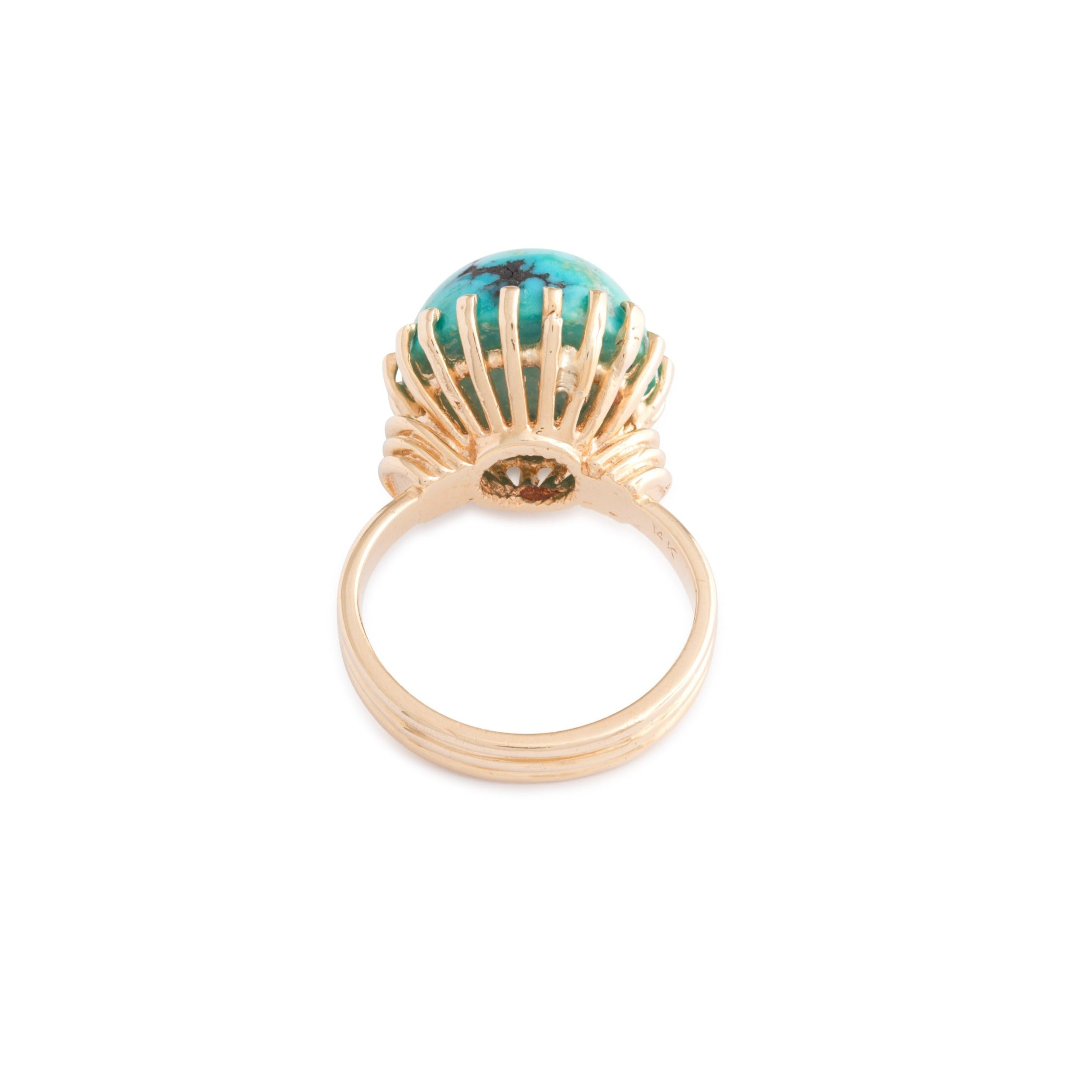 African Turquoise and 14k Gold Ring