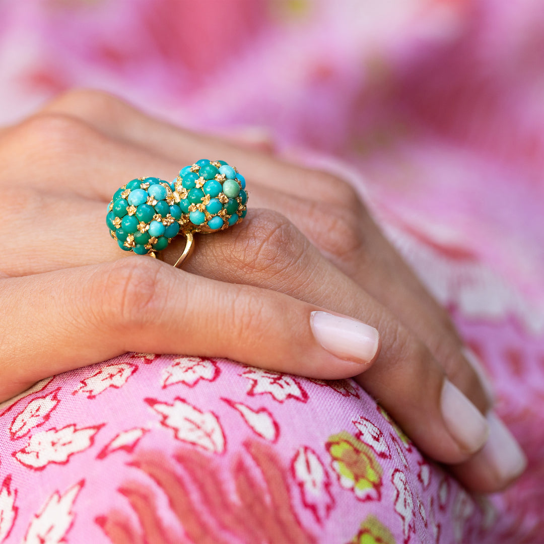 Pavé Turquoise and 18k Gold Bypass Ring