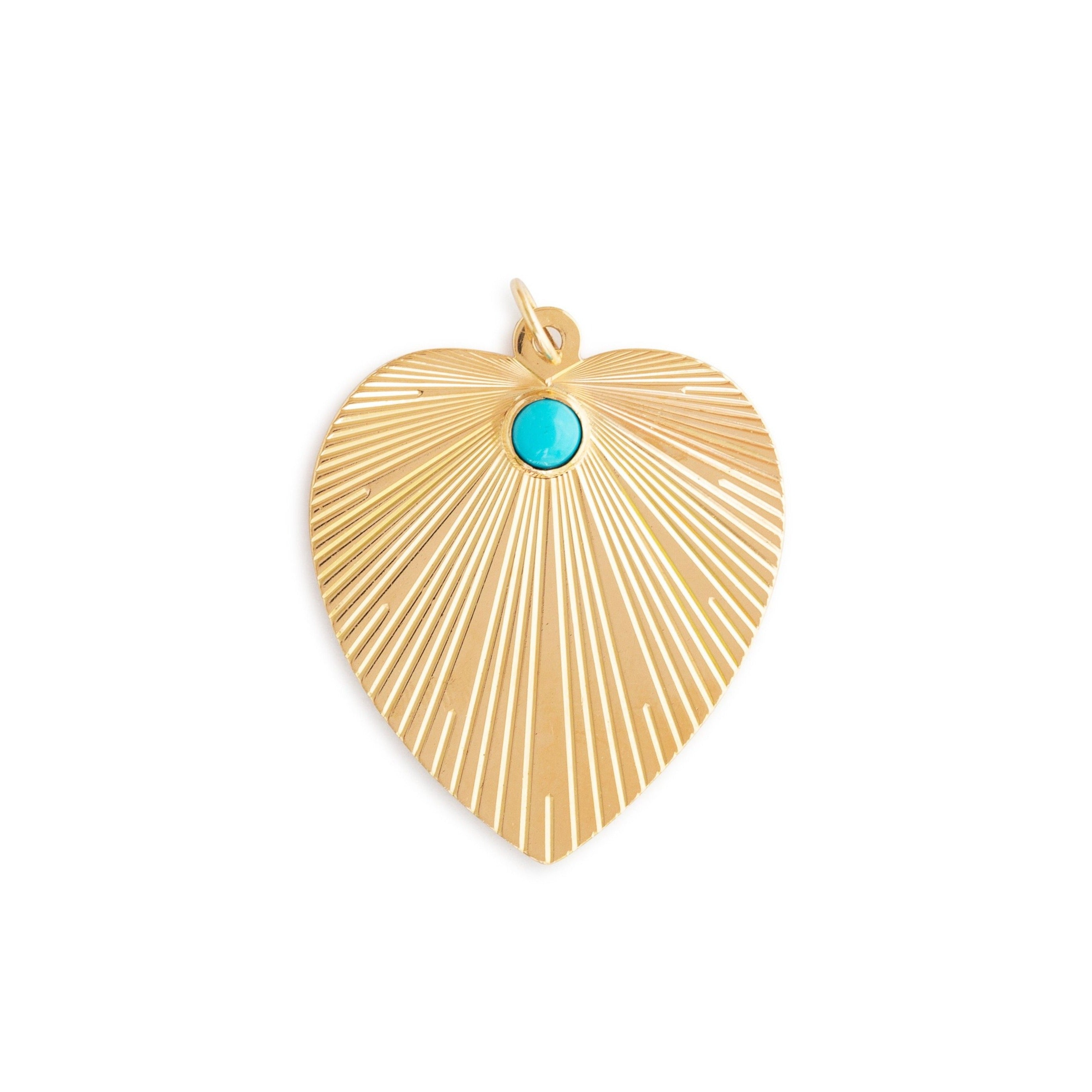 Large Turquoise and 14K Gold Heart Charm
