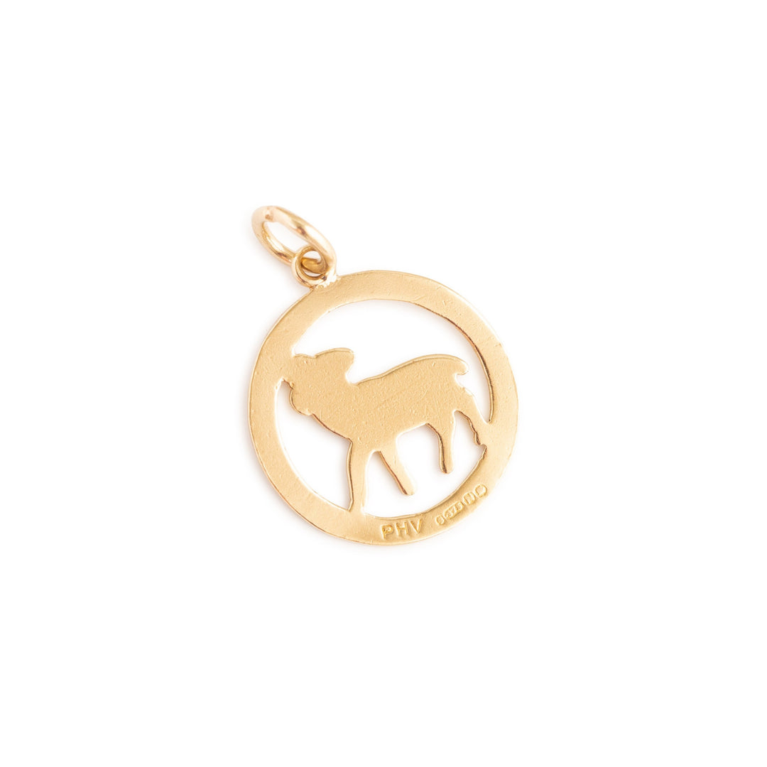 English Aries 9k Gold Zodiac Open Charm