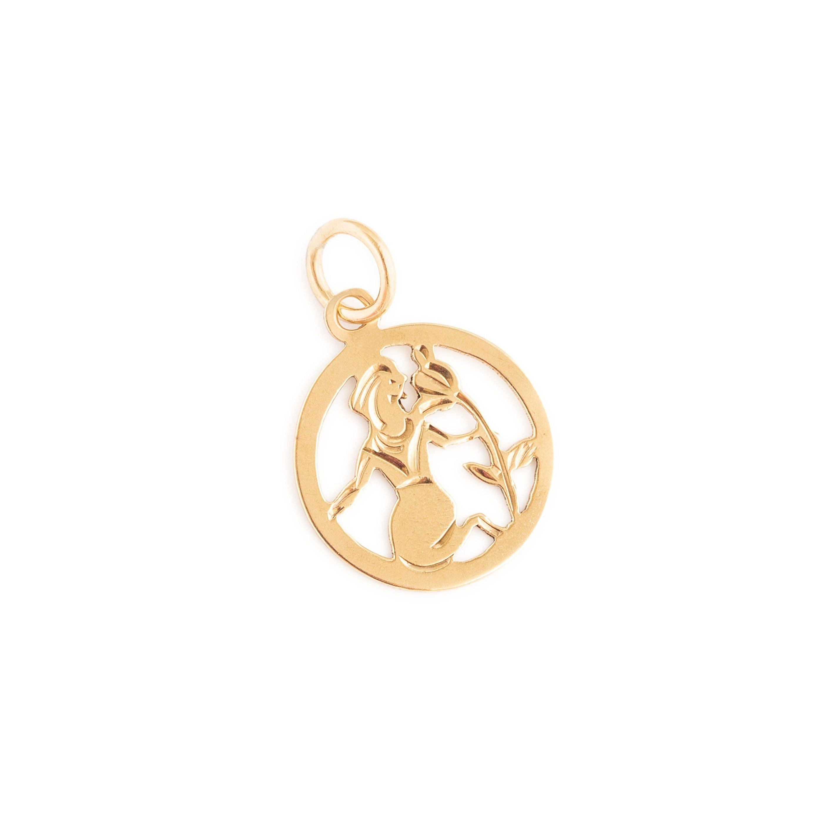English Virgo 9k Gold Zodiac Charm