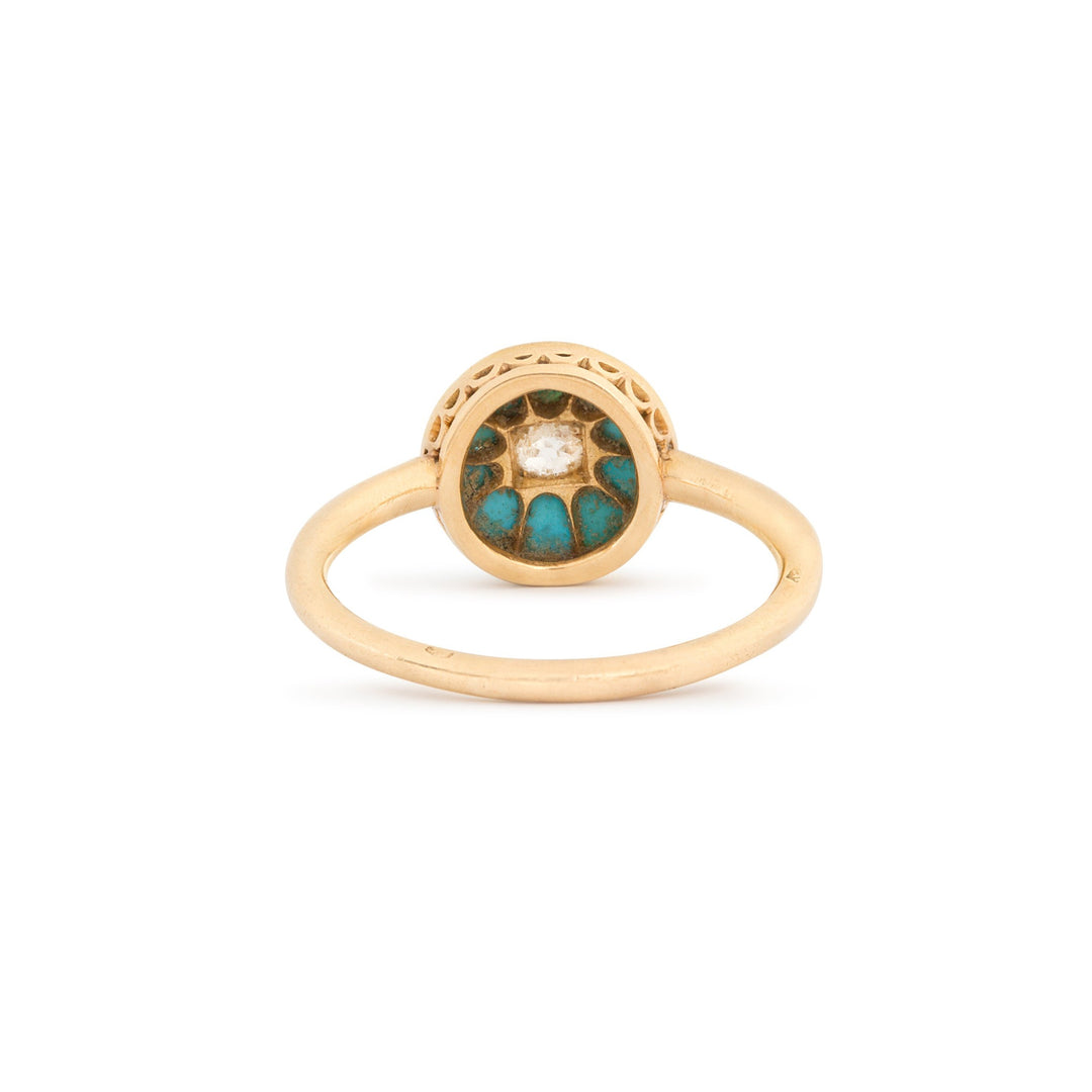 French Diamond and Turquoise Cluster 18k Gold Ring