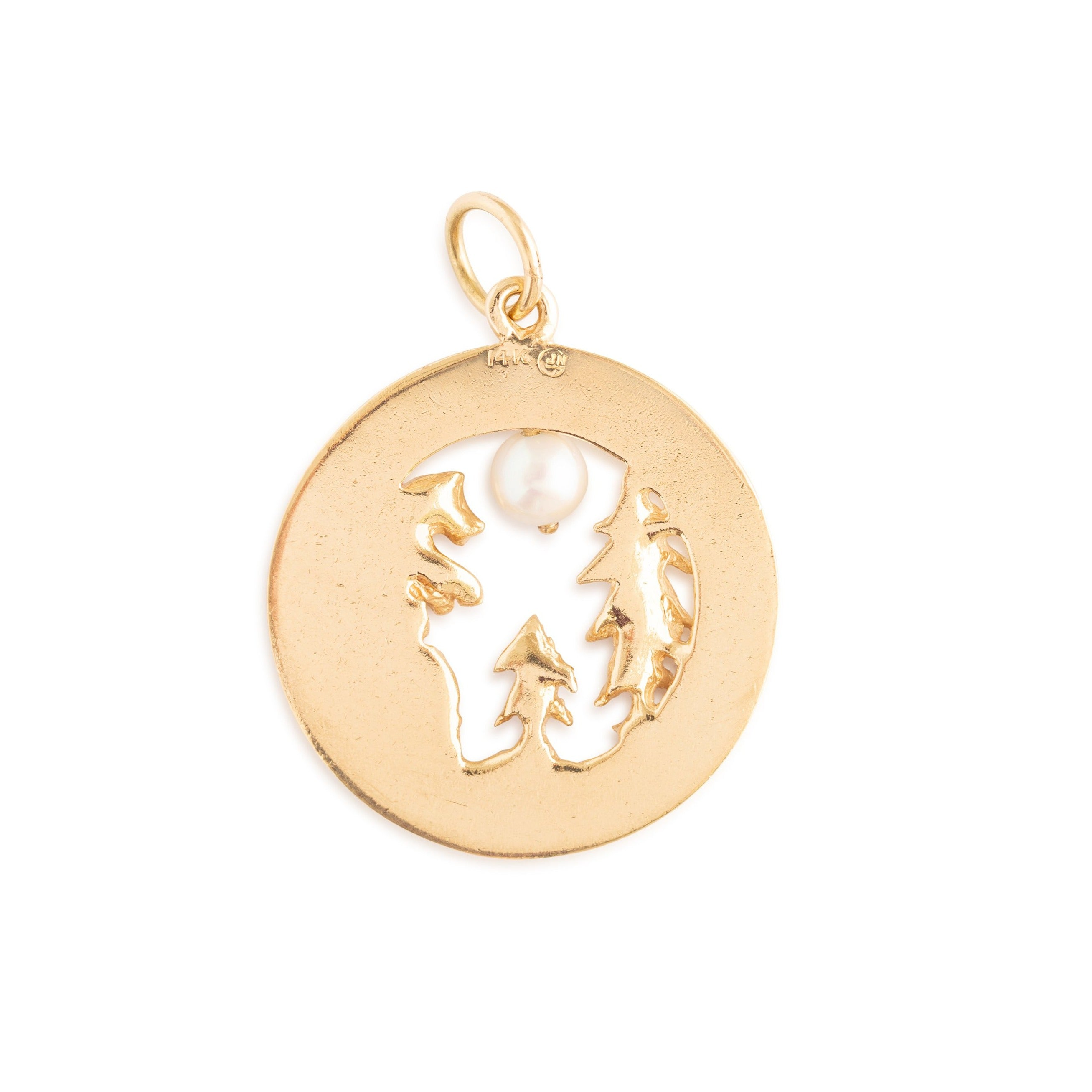 "Large Pearl and 14K Gold ""California"" Charm"