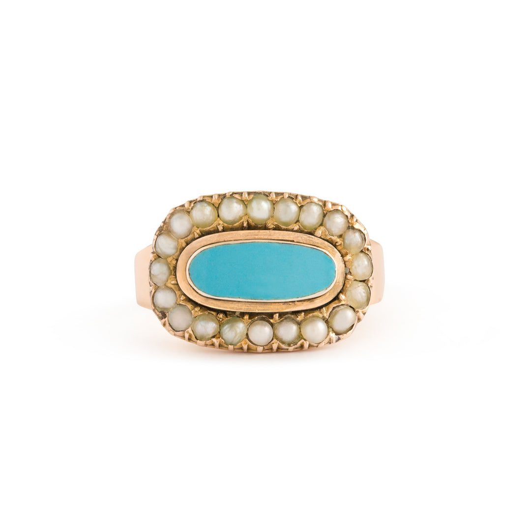 Victorian English Blue Enamel and Pearl 15k Gold Ring