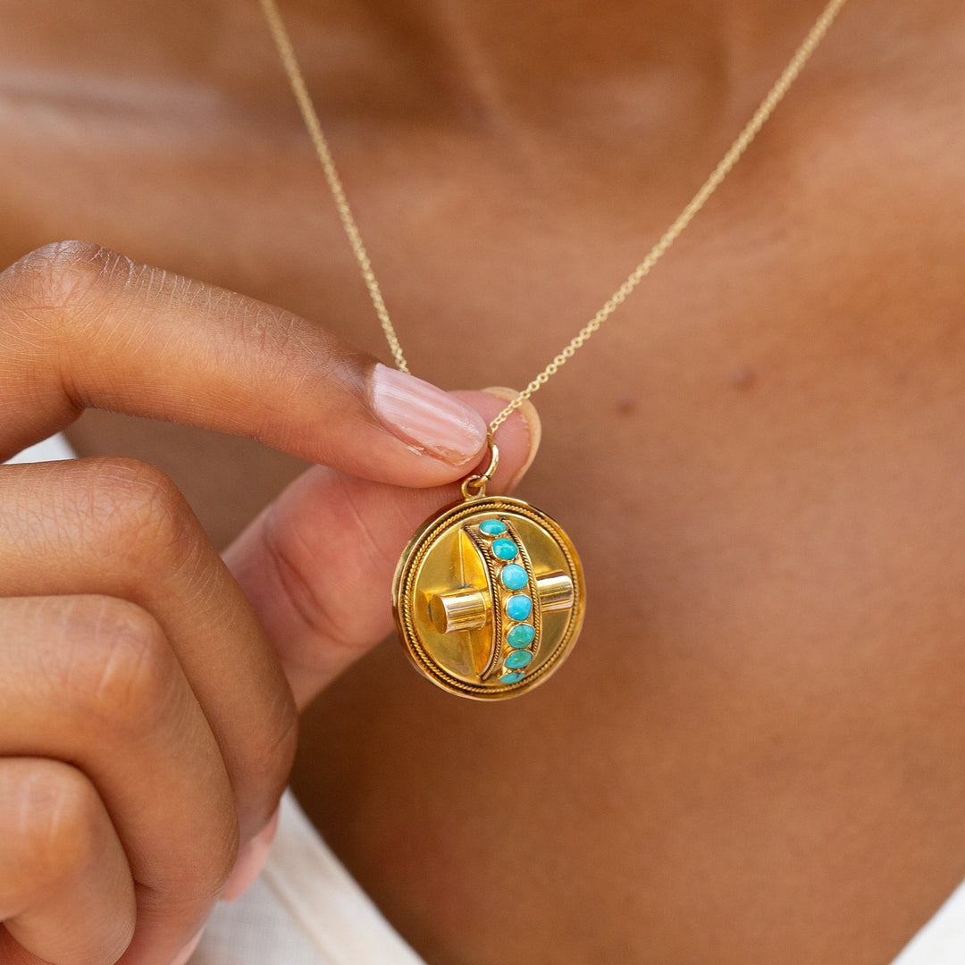 Victorian Turquoise and 14k Gold Open Back Locket