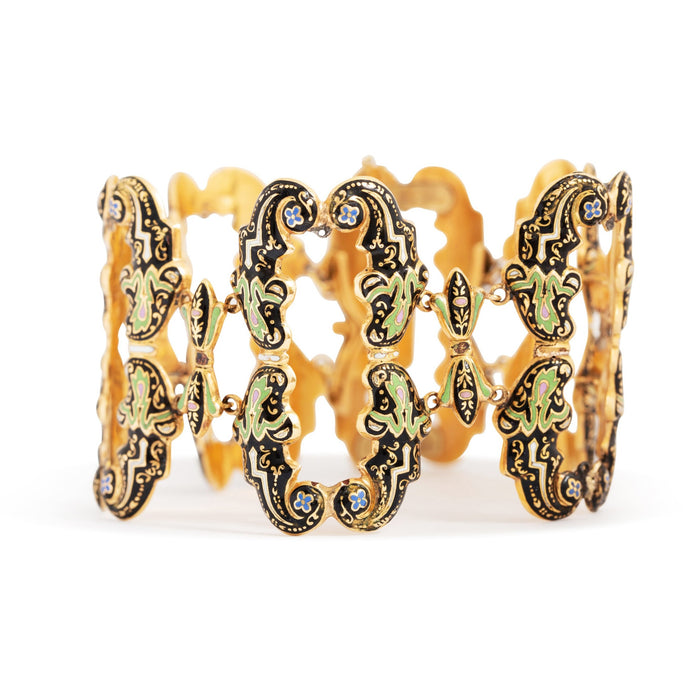 Victorian Ornate Enamel and 14k Gold Wide Bracelet
