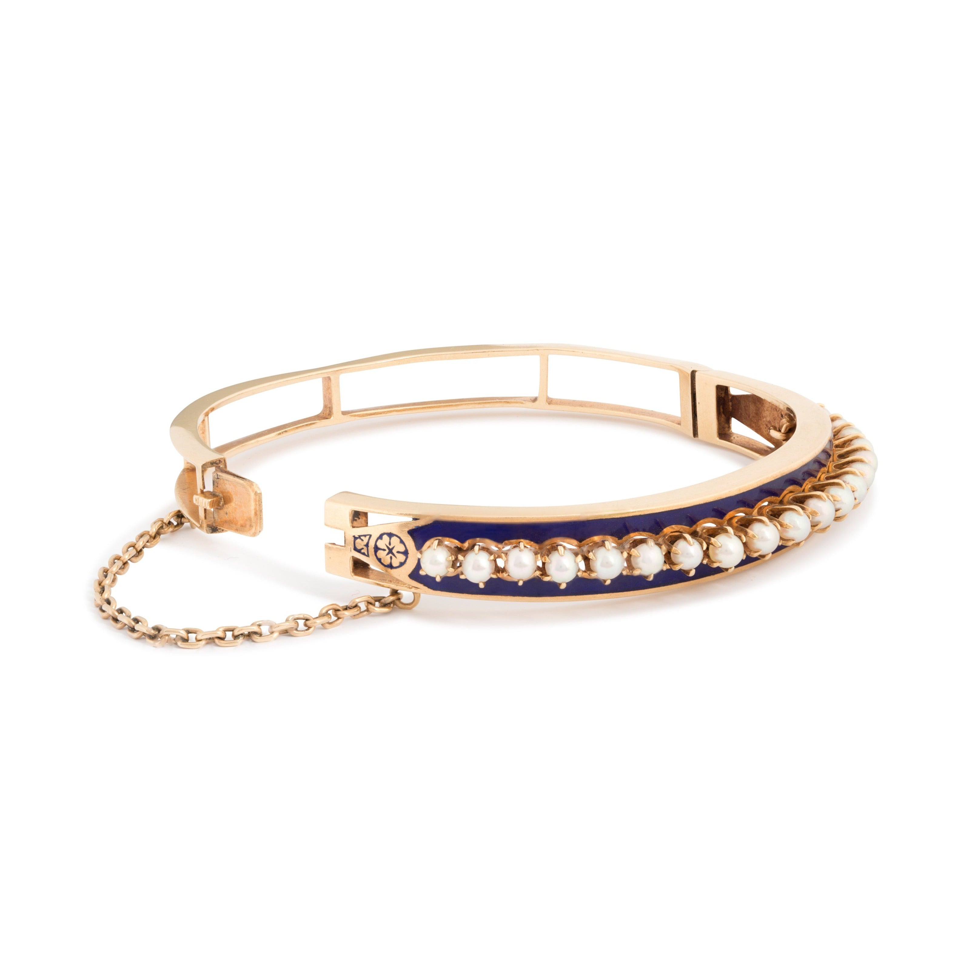 Victorian Pearl, Enamel, and 14K Gold Bangle Bracelet