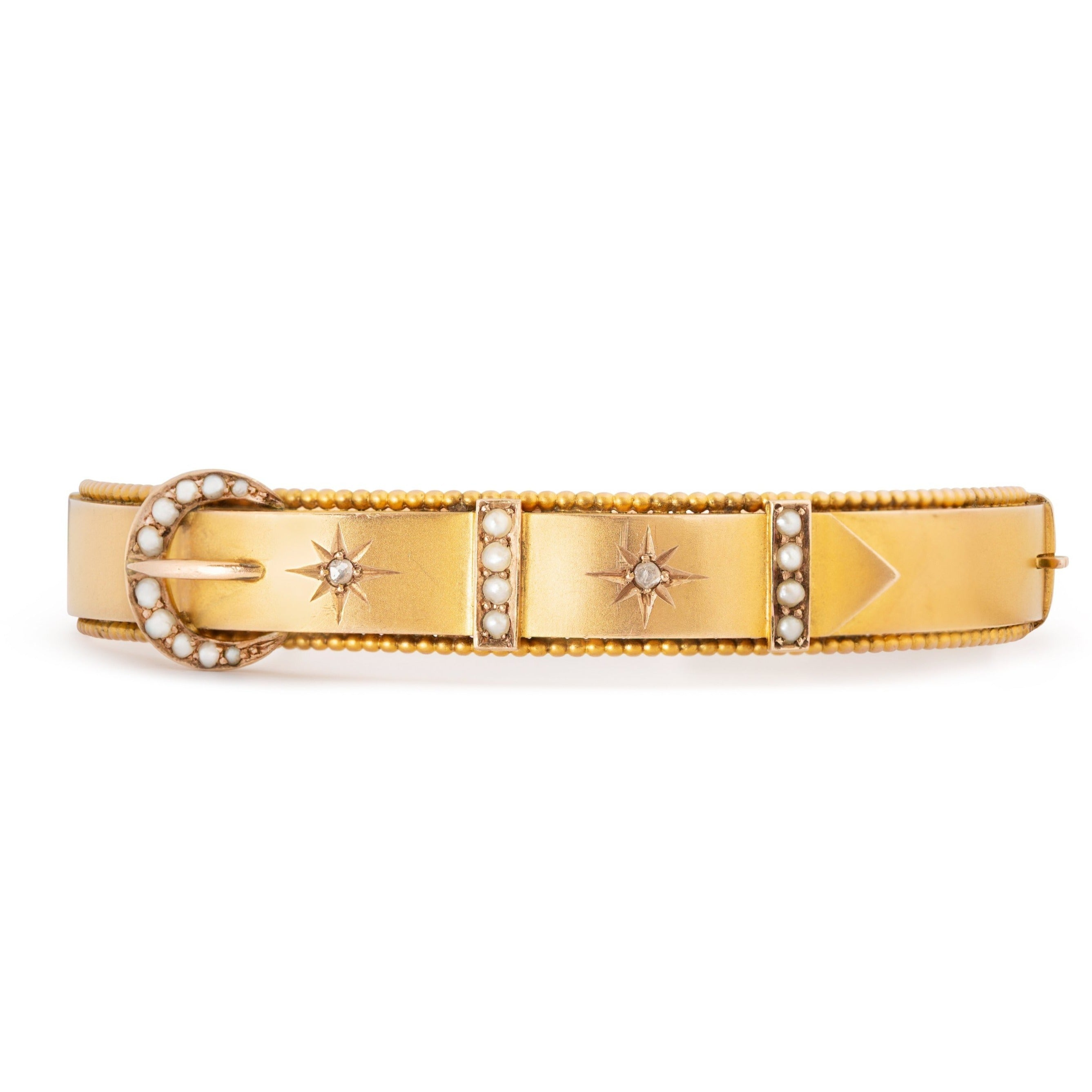 Victorian Diamond, Pearl, and 9K Gold Buckle Bracelet