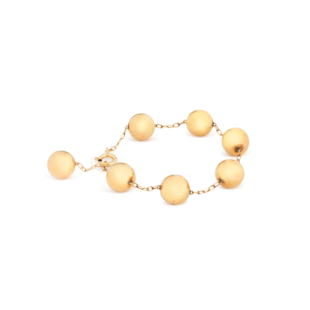 Ball and Chain Link 14k Gold Bracelet