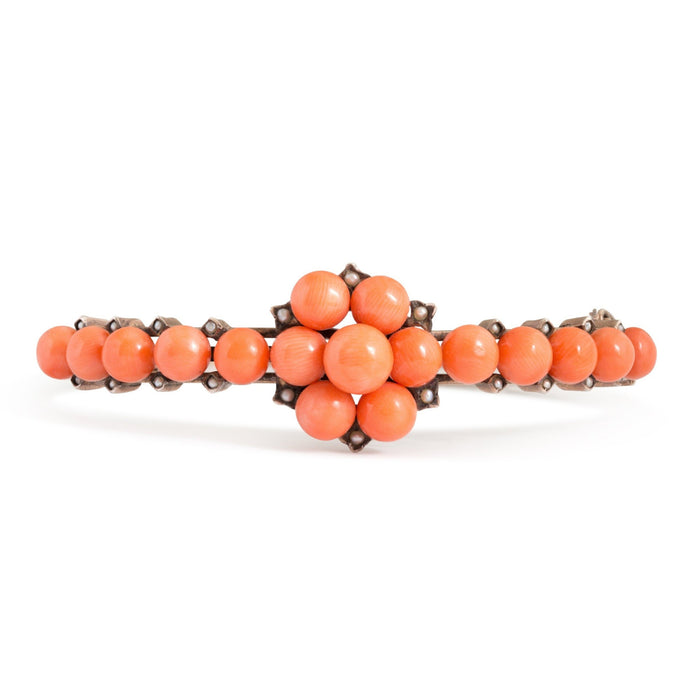 Victorian Coral, Pearl, and Silver Bangle Bracelet