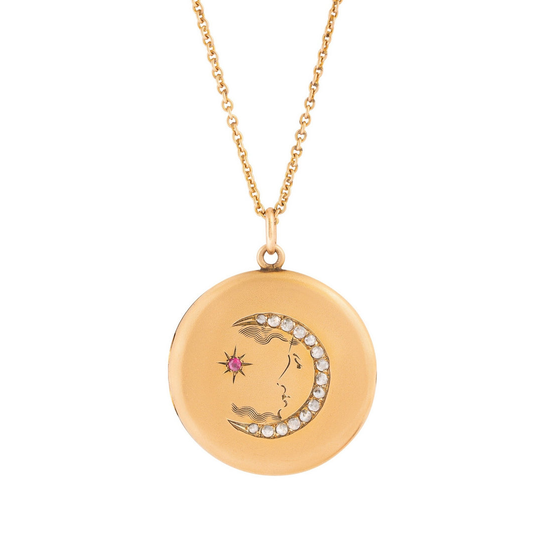 Victorian Man-In-The-Moon Ruby, Diamond, And 14k Gold Locket