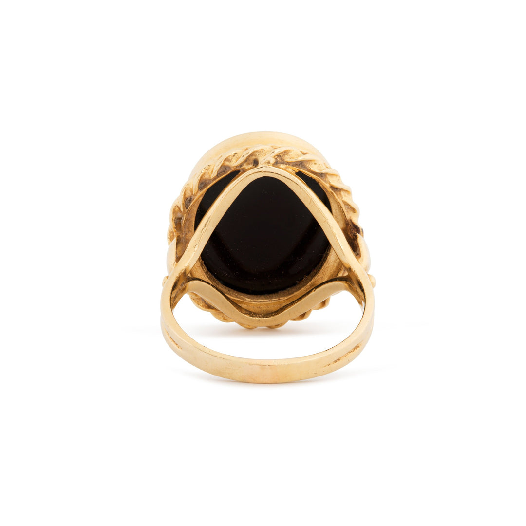 Large Onyx and 14k Gold Ring