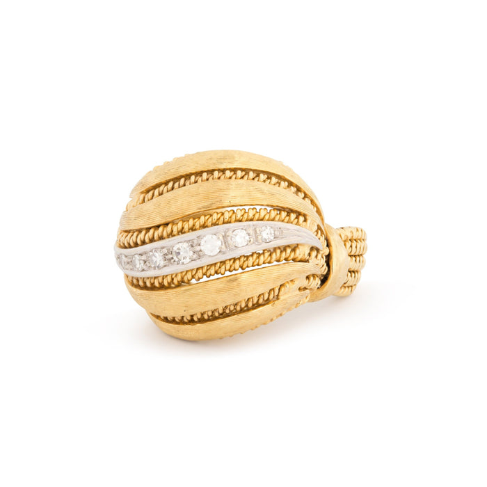 Italian Bombe Diamond and 18k Gold Cocktail Ring