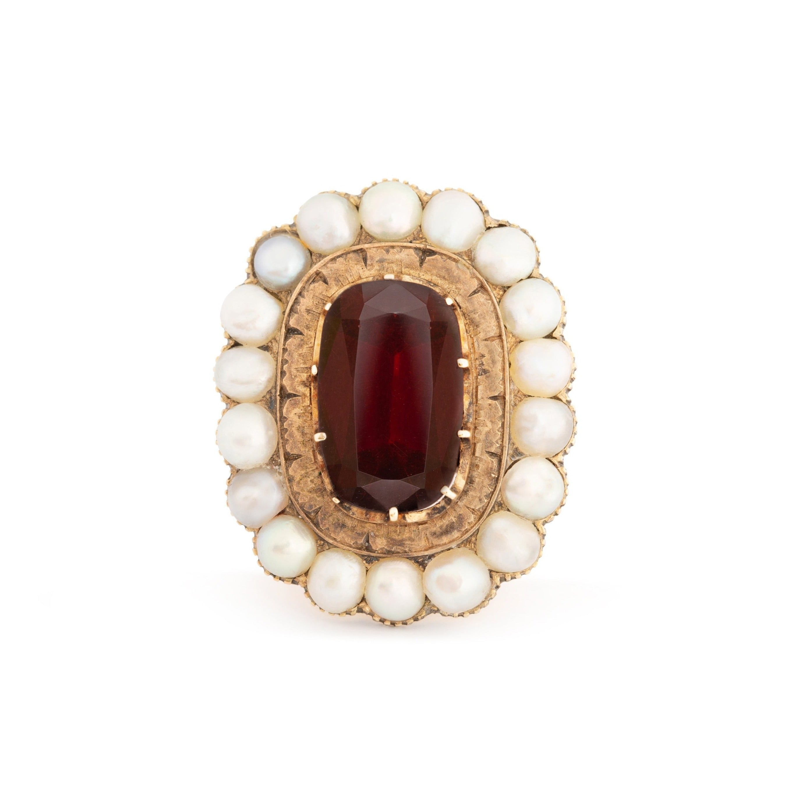 Victorian Garnet and Pearl Cluster 14k Gold Ring