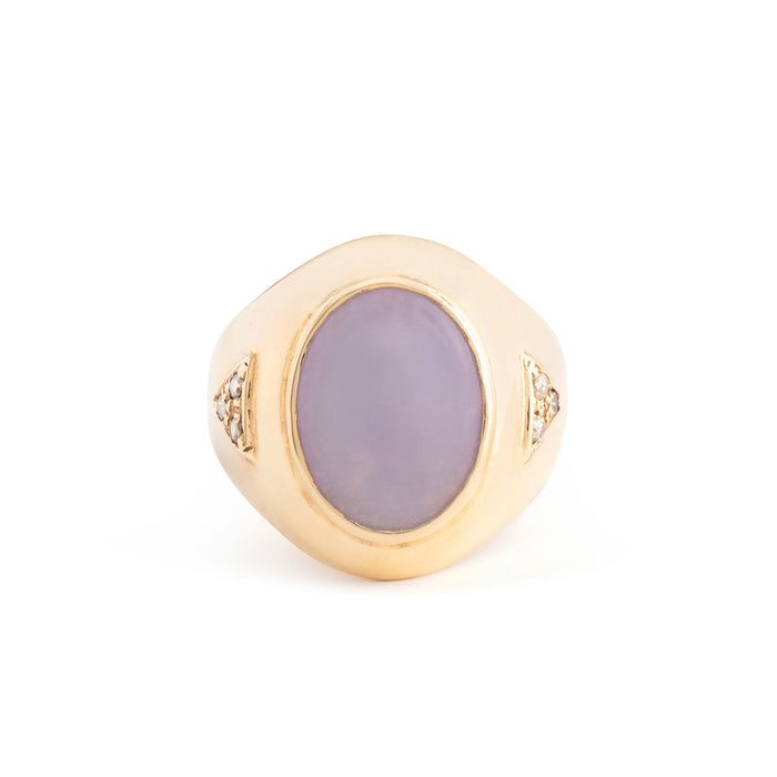 Lavender Chalcedony and Diamond 14k Gold Signet Ring
