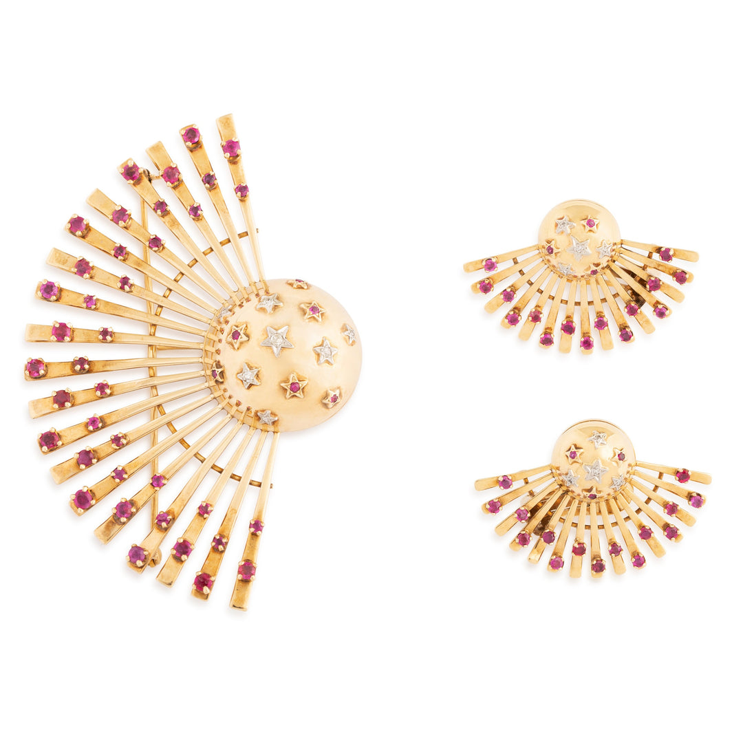 Retro Diamond, Synthetic Ruby, and 14k Gold Sputnik Suite