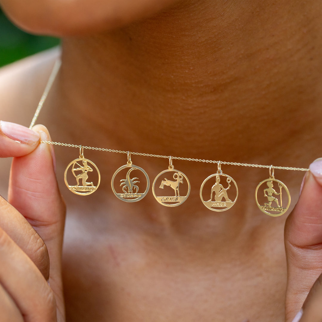 Aries 14k Gold Open Zodiac Charm