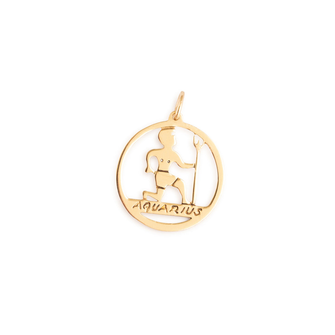 Aquarius 14k Gold Open Zodiac Charm