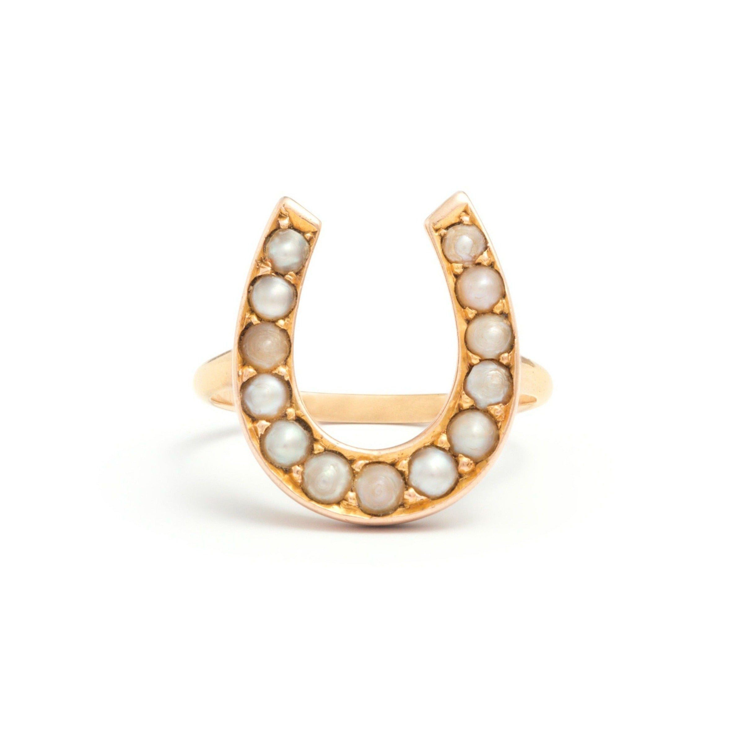Victorian Pearl Horseshoe and 14k Gold Ring