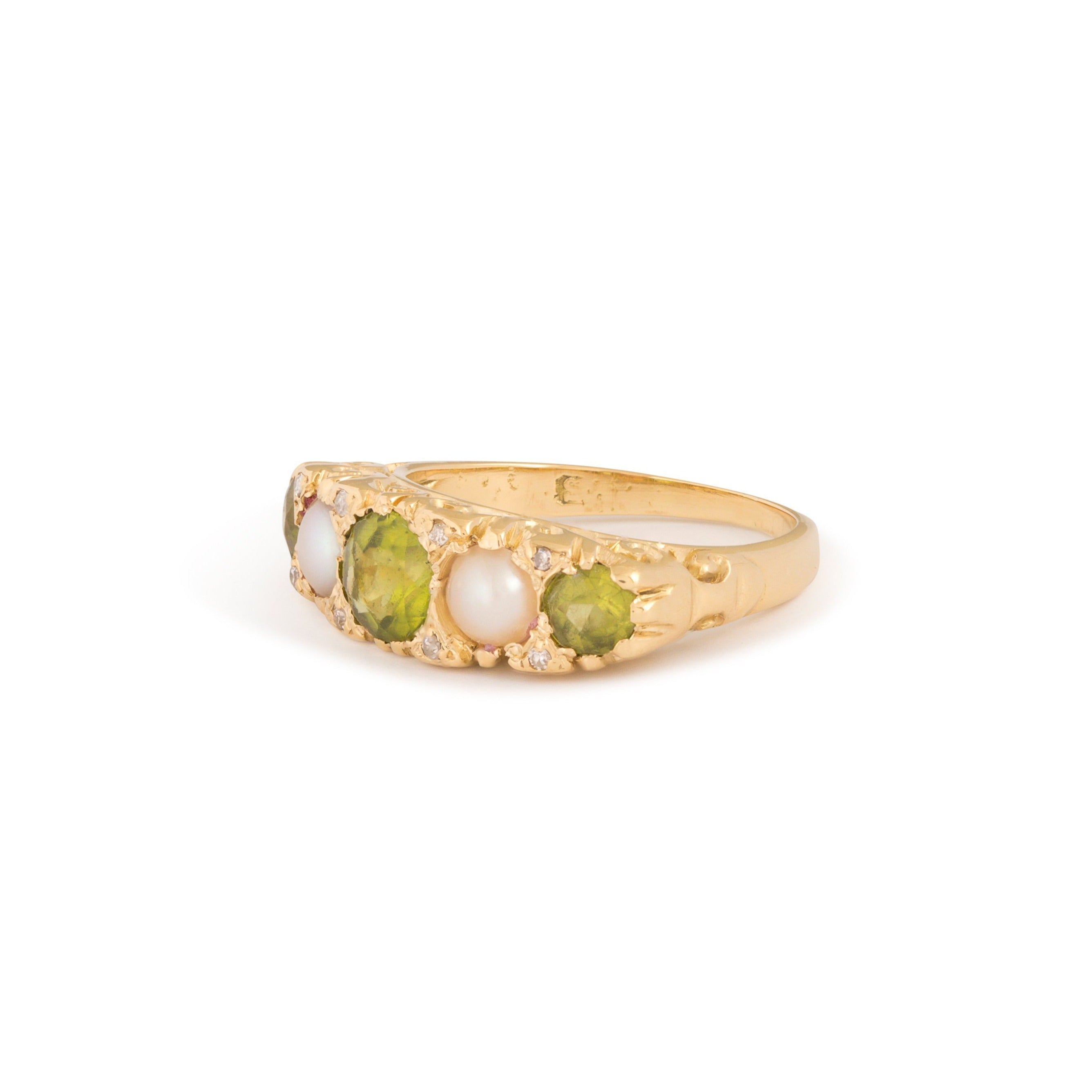 English Victorian Peridot, Pearl, and Diamond 14k Gold Ring