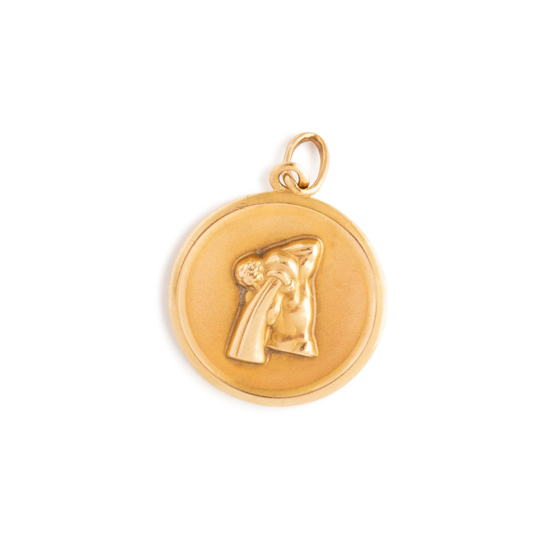 Aquarius 9K Gold Zodiac Disc Charm