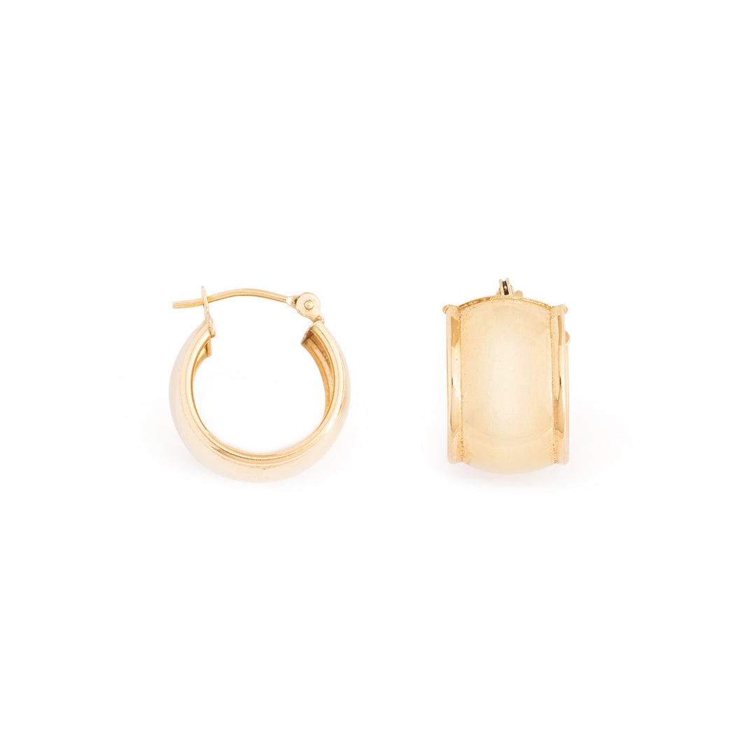 Wide 14k Gold Huggie Hoop Earrings