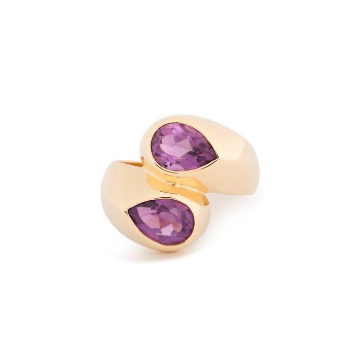Amethsyt and 14k Gold Bypass Ring