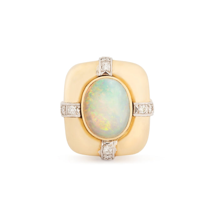 Opal, Diamond, 14k Bi-Color Gold Ring