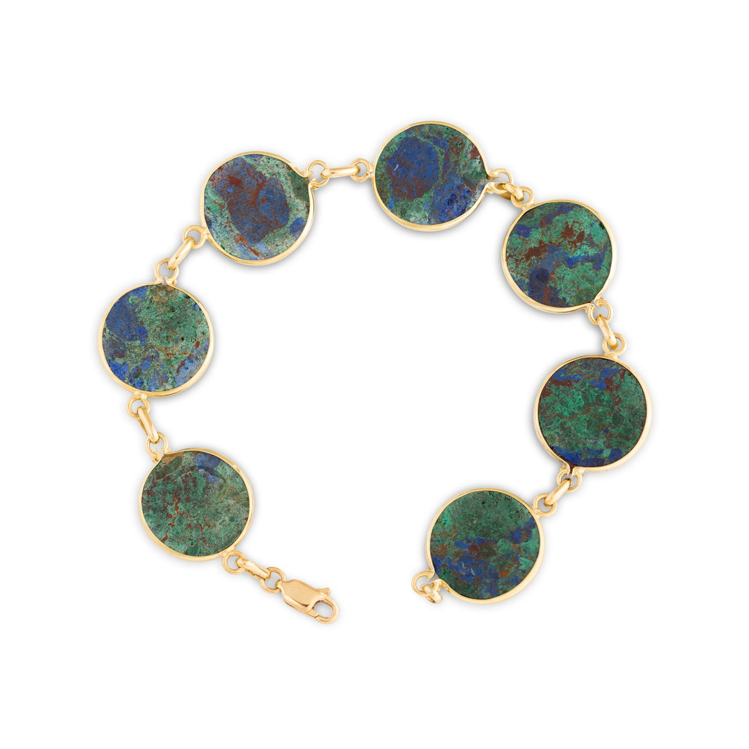 Azurmalachite and 14k Gold Link Bracelet