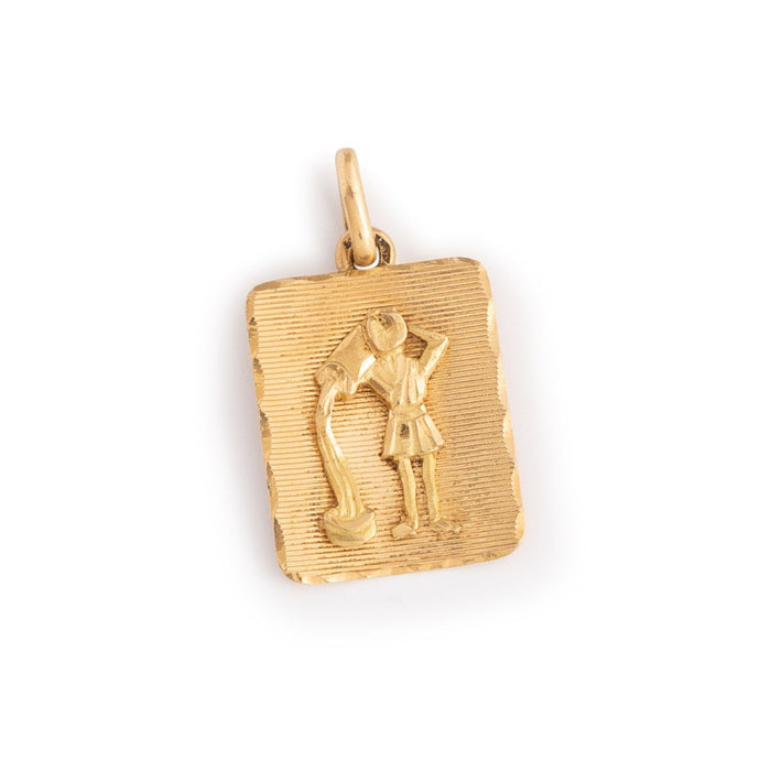 Aquarius 18k Gold Rectangular Zodiac Charm