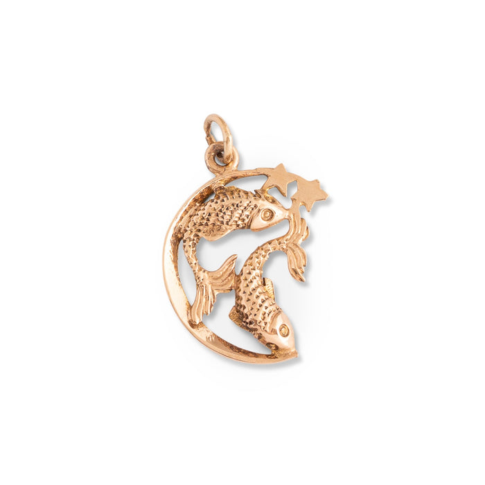 Pisces and Half Moon 9k Gold Zodiac Charm