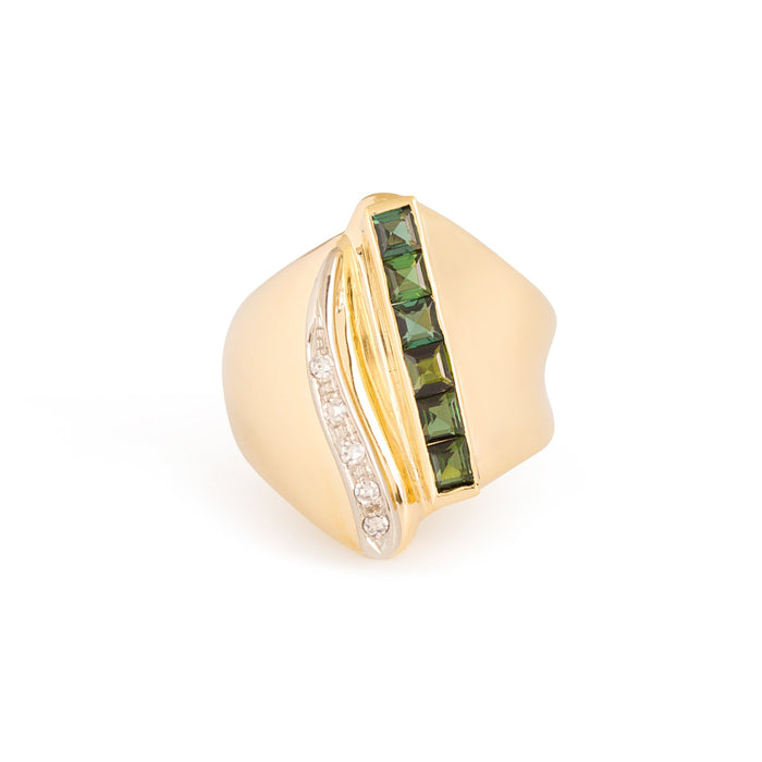 Tourmaline and Diamond 14k Gold Cocktail Ring