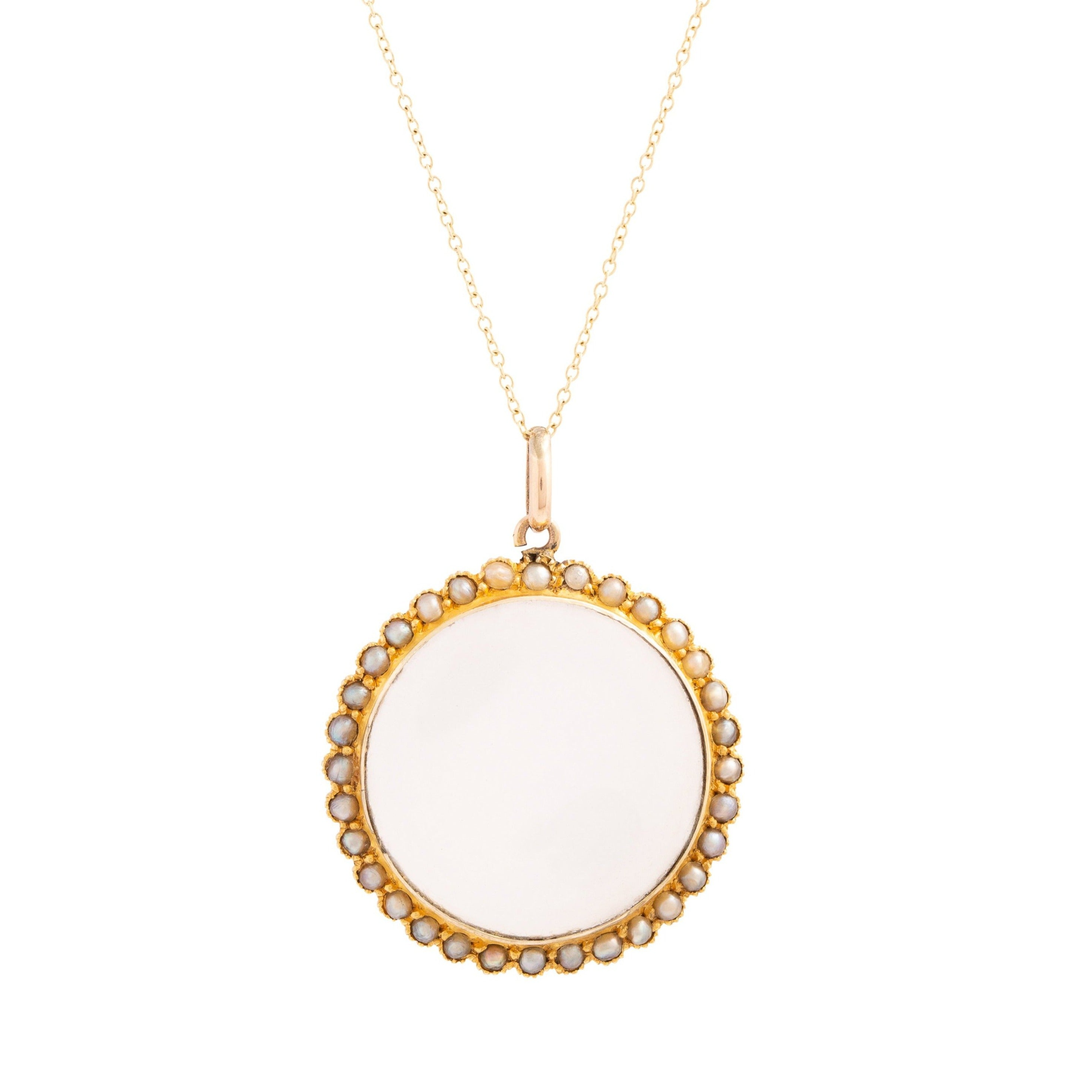 Pearl and 9k Gold Open Bezel Locket