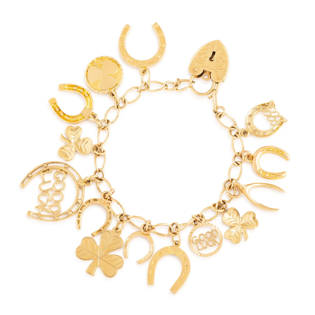 English Good Luck 9k Gold Charm Bracelet