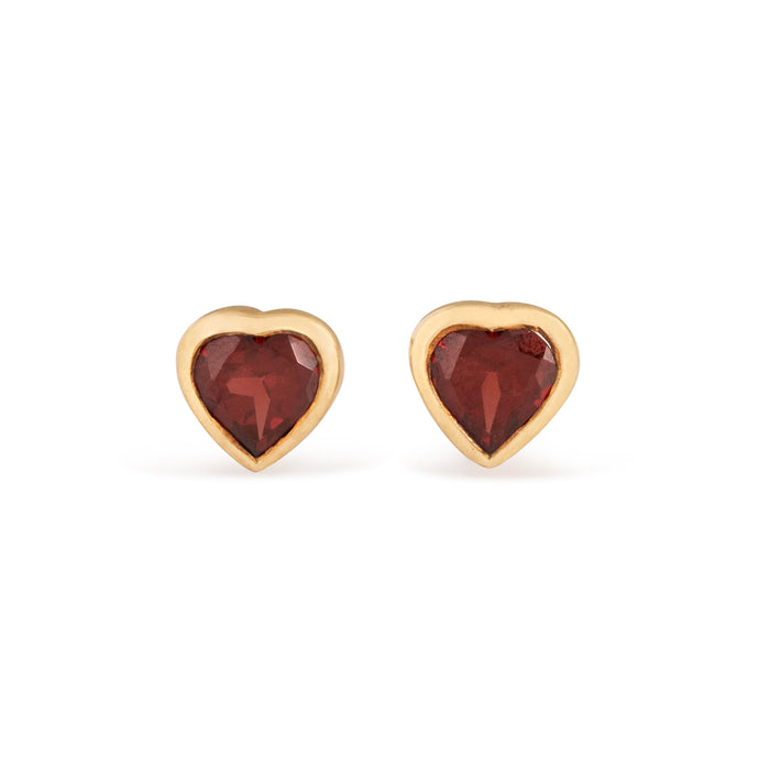 Garnet Heart and 9k Gold Stud Earrings