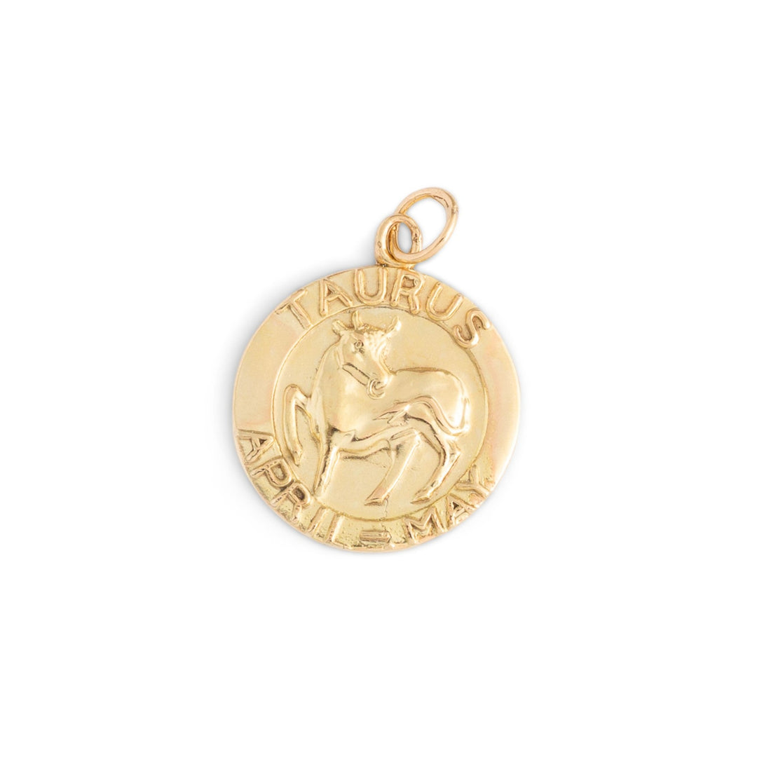 English Taurus 9k Gold Zodiac Charm
