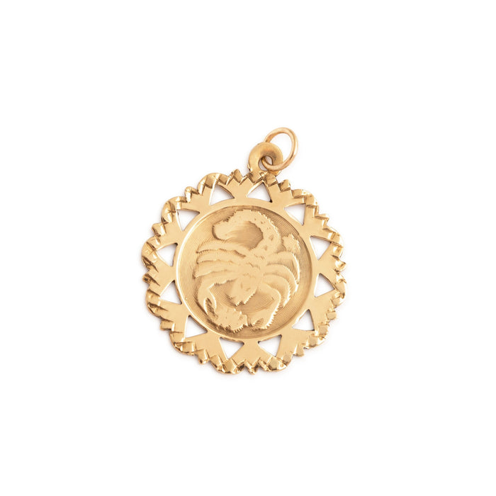 Scorpio 10k Gold Scalloped Zodiac Charm