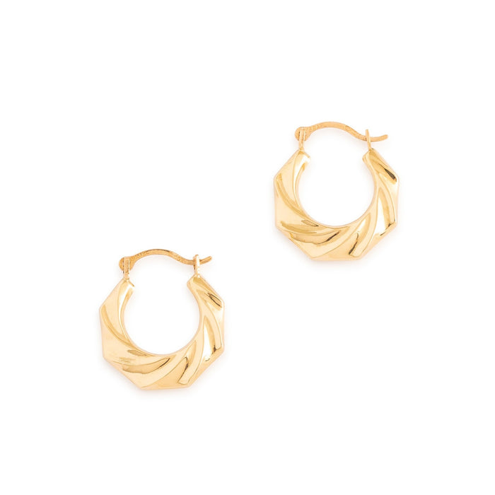 Wavy 10k Gold Petite Hoop Earrings