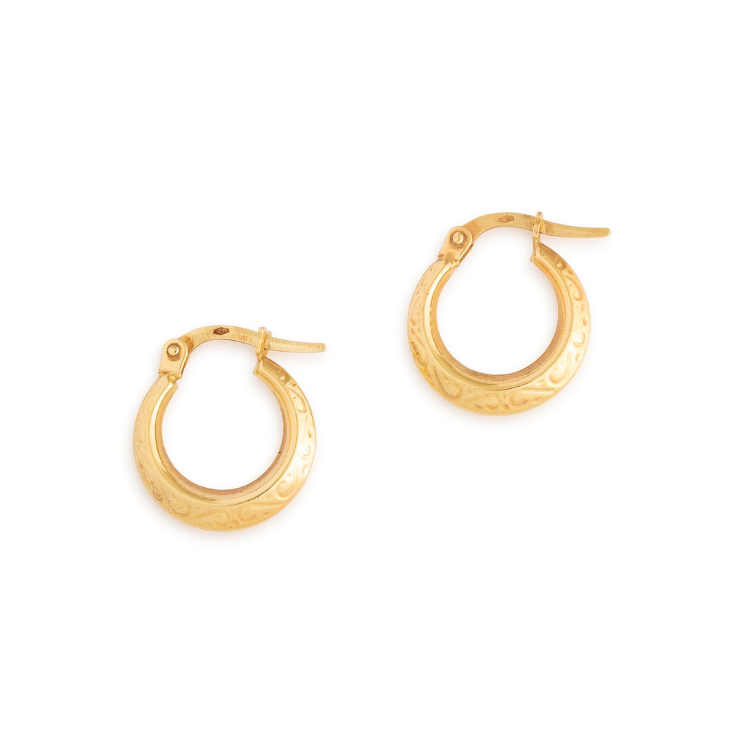 Engraved 18k Gold Petite Hoop Earrings
