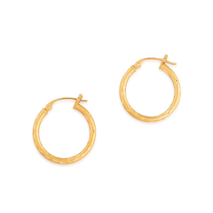 Matte 14k Gold Engraved Hoop Earrings