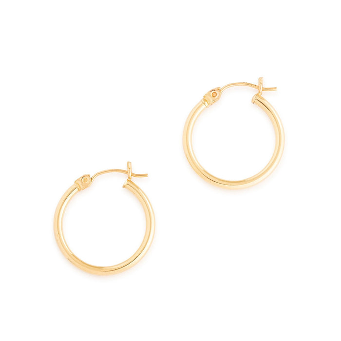 High Polish 14K Gold Hoop Earrings